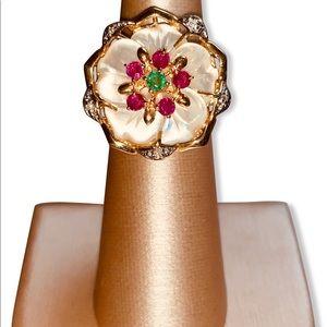 14kt Gold MOP Emerald Ruby Diamond Flower Ring 7.5